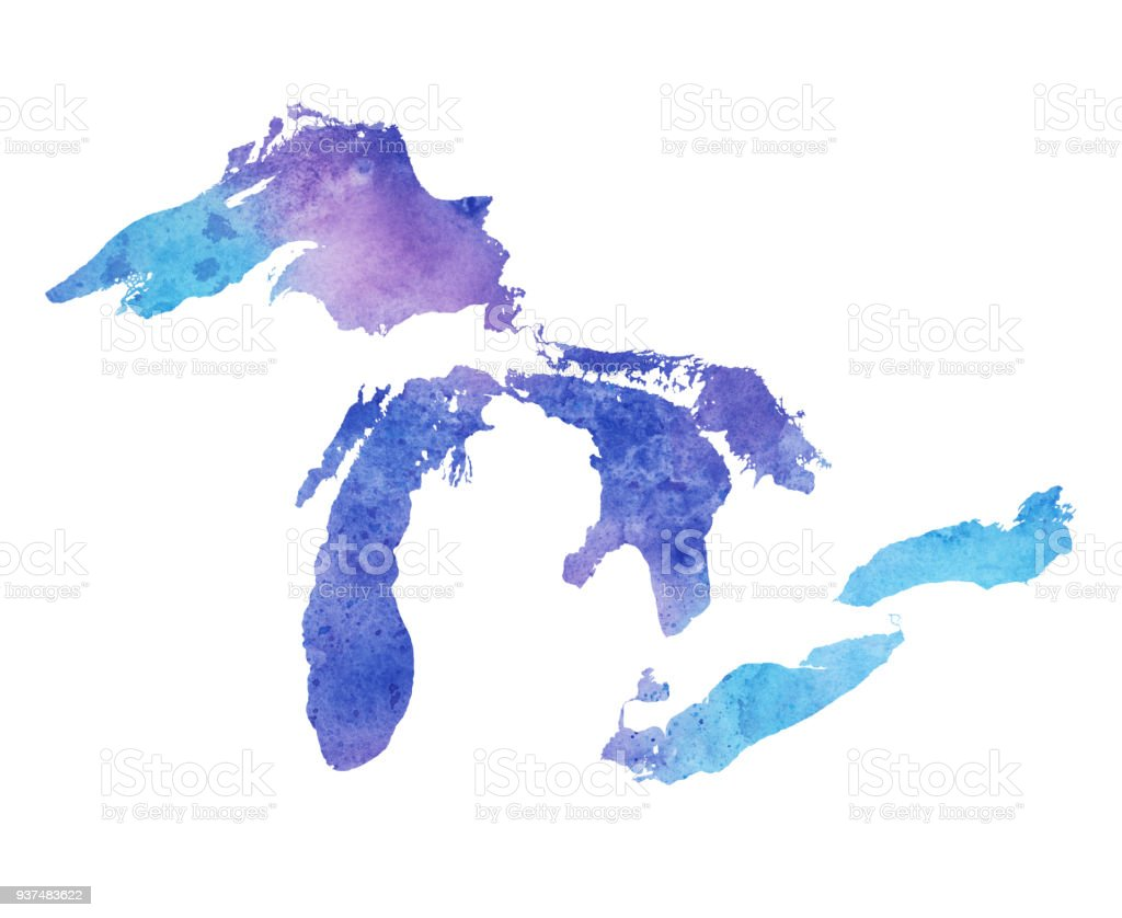 great lakes watercolor map stock vector art more images of blue