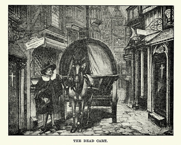 Great Plague of London - The Dead Cart Vintage engraving of a dead cart collecting the bobies of plague victims during the Great Plague of London. The Great Plague, lasting from 1665 to 1666, was the last major epidemic of the bubonic plague to occur in England. epidemic stock illustrations