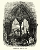 Vintage engraving of the Great Portal, Crowland Abbey. Crowland Abbey (also spelled Croyland Abbey) is a Church of England parish church, formerly part of a Benedictine abbey church, in Crowland in the English county of Lincolnshire.