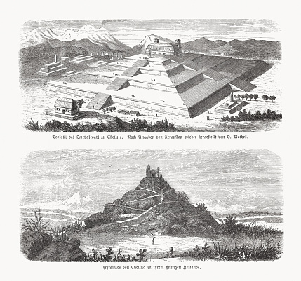 Great Pyramid of Cholula in Mexico, wood engravings, published in 1893