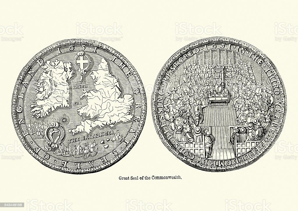 Great Seal of the Commonwealth of England vector art illustration