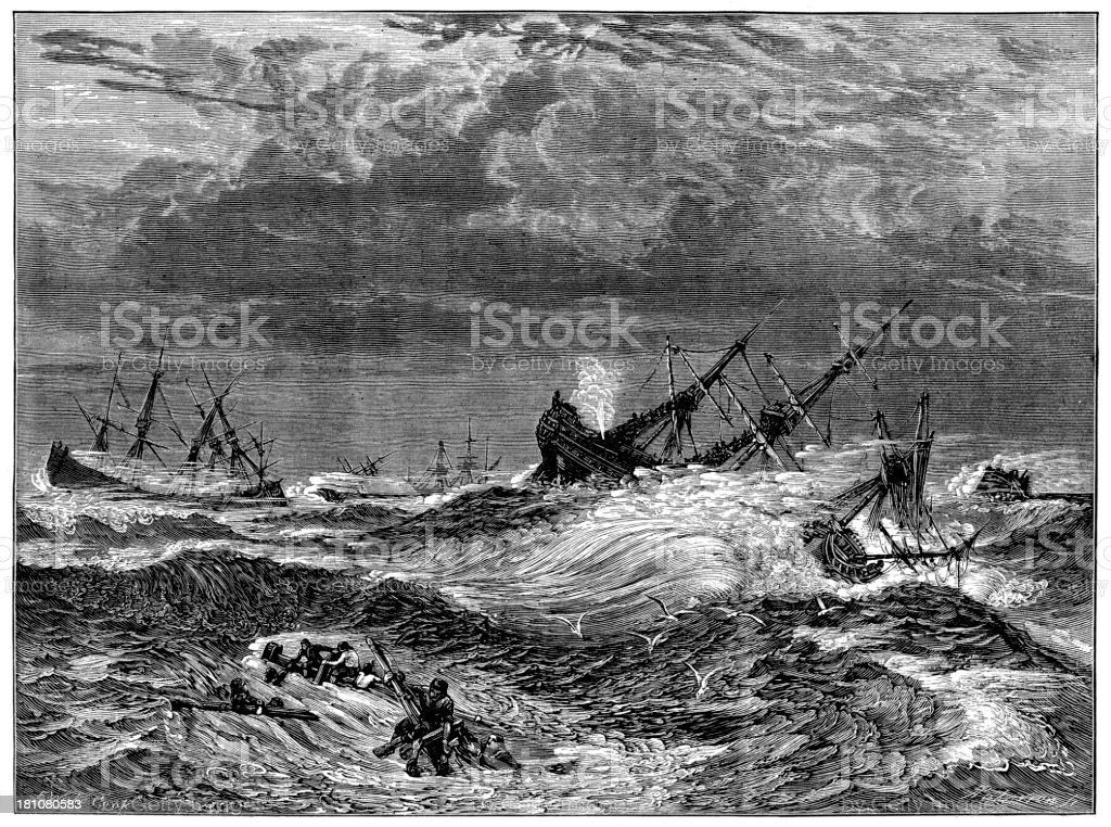 Great Storm in the Down royalty-free great storm in the down stock vector art & more images of 19th century