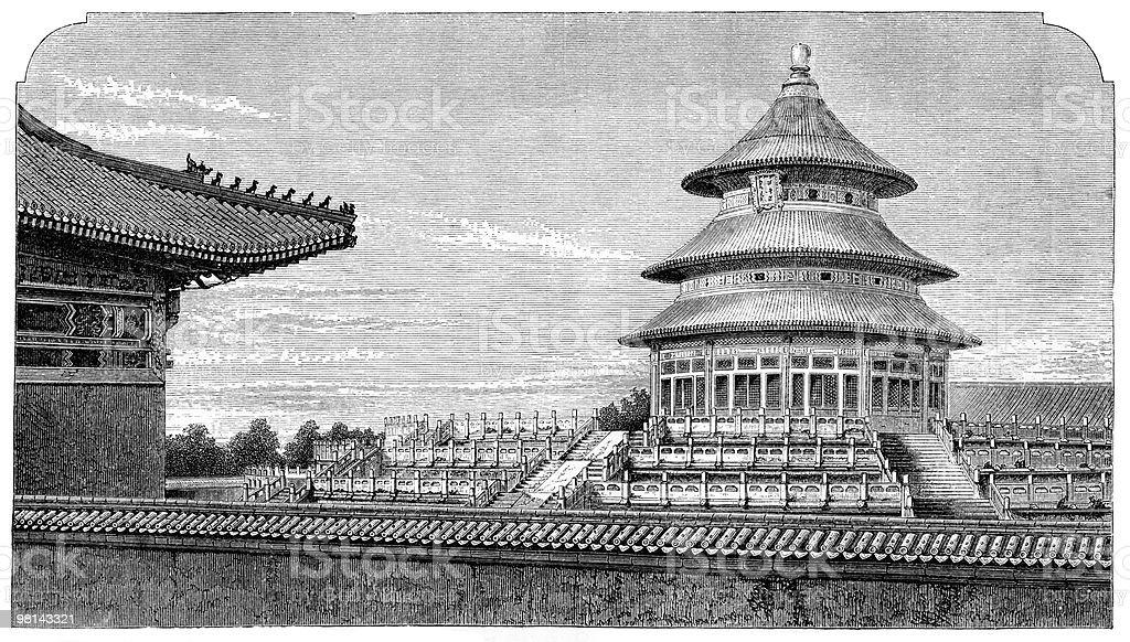 Great Temple of Heaven, Beijing circa 15th Century vector art illustration
