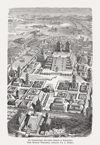 Great Teocalli of Tenochtitlan (Aztec Empire), wood engraving, published 1888