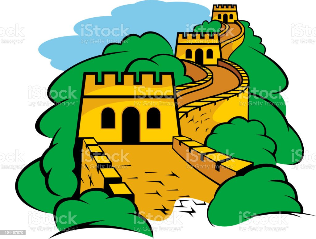 Great Wall in China vector art illustration
