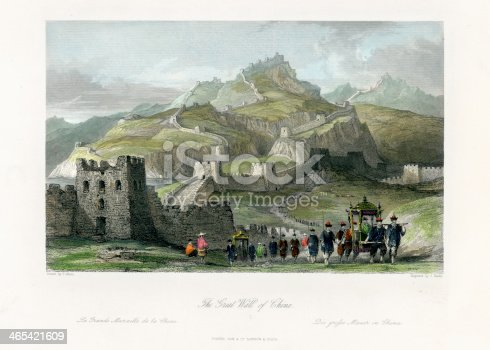 Vintage engraving of showing Great Wall of China, 1843