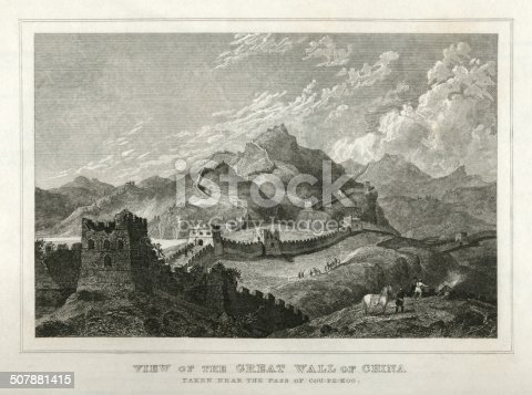 "An early 19th century steel engraving of the Great Wall of China 'taken near the Pass of Cou-Pe-Koo'. From ""A System of Geography, Popular and Scientific, or A Physical, Political, and Statistical Account of the World and its Various Divisions. Volume VI, Part II"" by James Bell and published by A. Fullarton & Co., Glasgow, in 1838."