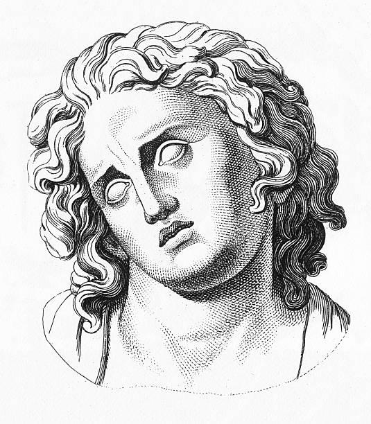 Grecian Bust Engraving vector art illustration