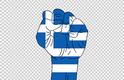 Greece flag colored hand isolated on png or transparent  background, Symbols of Greece template for banner,card,advertising ,promote,magazine,vector,top gold medal winner sport country