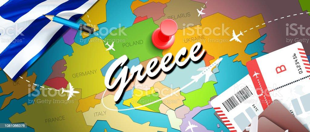 Thessaloniki Karte.Griechenland Reisen Konzept Kartenhintergrund Mit Flugzeugen Tickets
