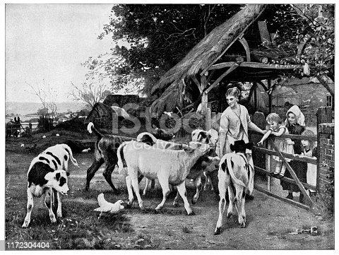 Greedy Calves by Otto Weber (circa 19th century). Vintage etching circa late 19th century.