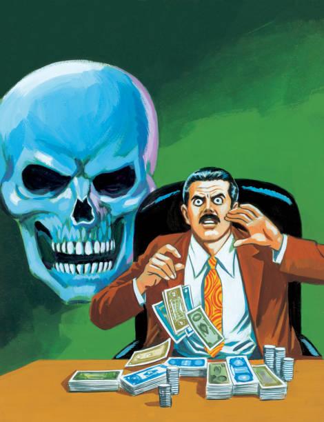 greedy man with blue skull - evil money stock illustrations, clip art, cartoons, & icons