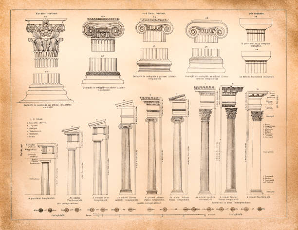 Greek and Roman column systems vector art illustration