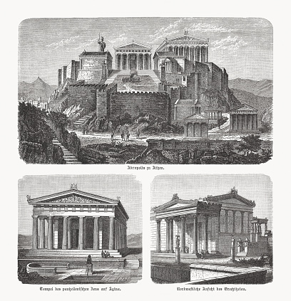 Greek architecture (visual reconstructions): Acropolis in Athens, Greece; Temple of Aphaea in Aegina, Greece; Northwest view of Erechtheion, Acropolis, Athens, Greece. Wood engravings, published in 1893.