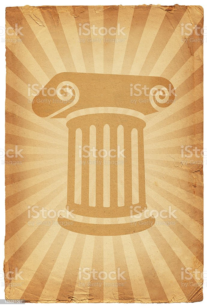 Greek column on old paper Background royalty-free stock vector art