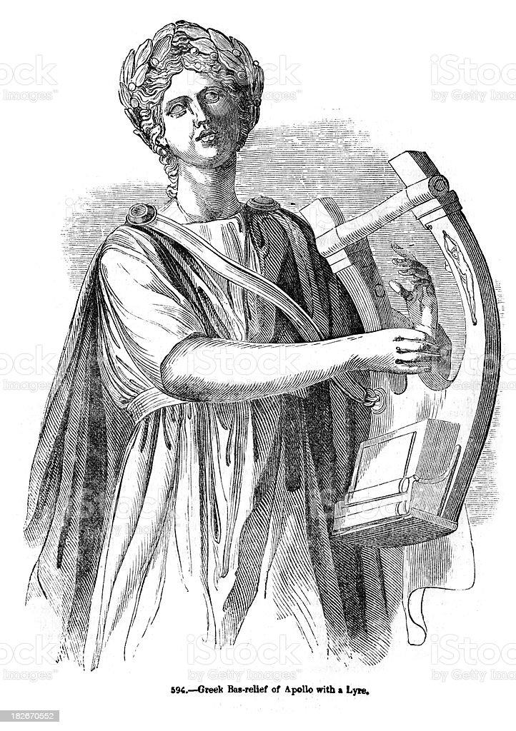 Greek God Apollo playing a Lyre vector art illustration