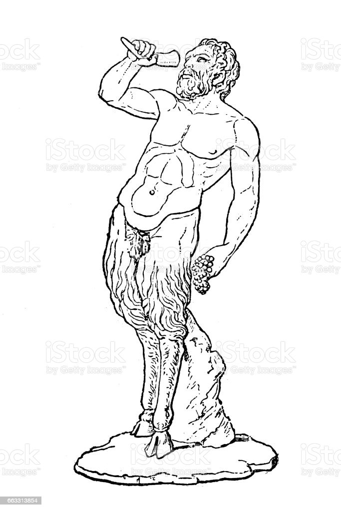 Greek god of the wild Pan vector art illustration