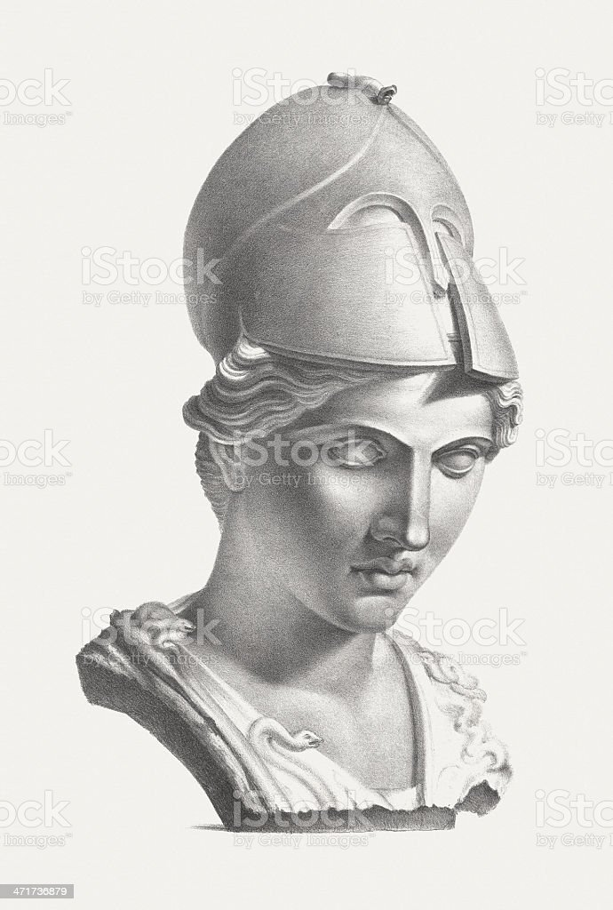 Greek goddess Athena (Roman: Minerva), published c. 1830 royalty-free stock vector art