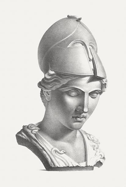 Greek goddess Athena (Roman: Minerva), published c. 1830 vector art illustration