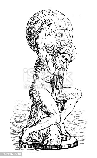 Greek goddess Atlas who was a Titan condemned to hold up the sky for eternity after the Titanomachy Original edition from my own archives Source : Illustrierte Mythologie, Spamer 1879