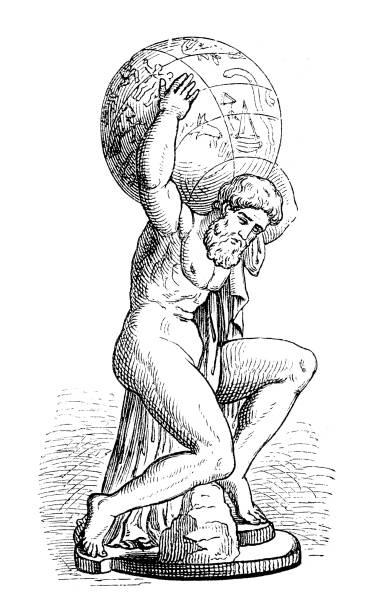 greek goddess atlas holding the globe - mythology stock illustrations