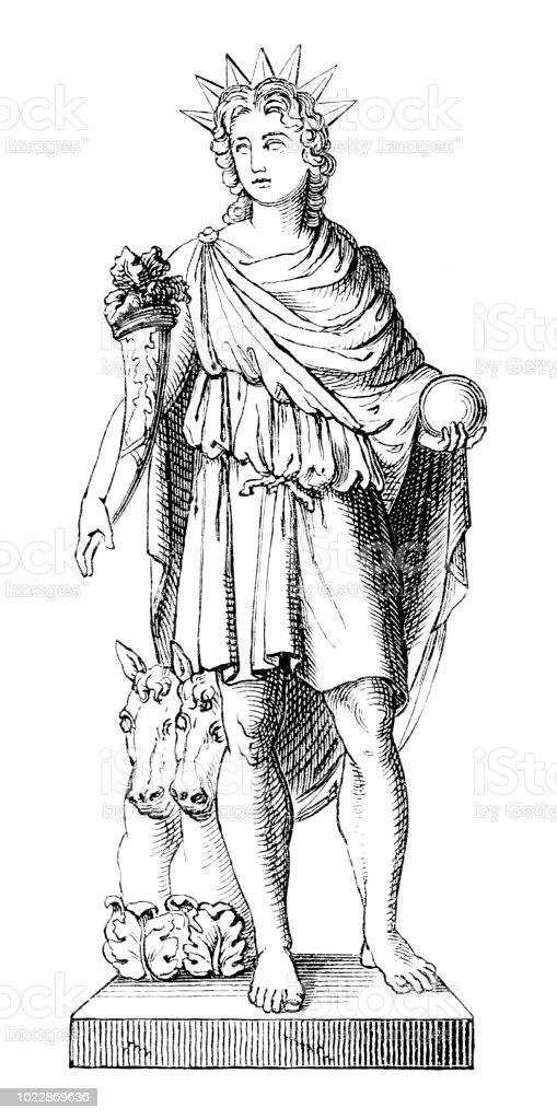Greek goddess Helios vector art illustration