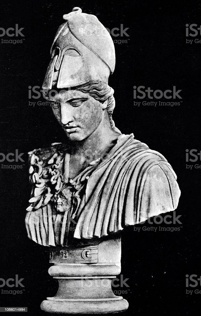 Greek godess of wisdom, Athene vector art illustration