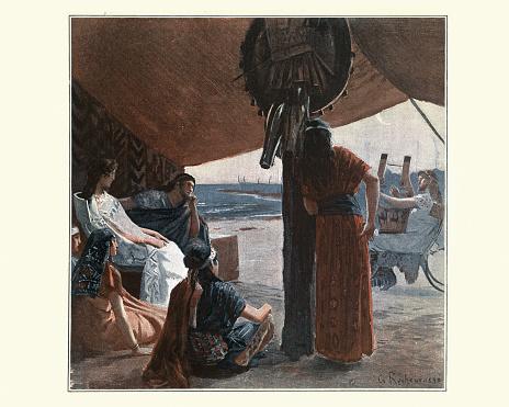 Greek mythology, Iliad, Briseis listening to a musician playing lyre