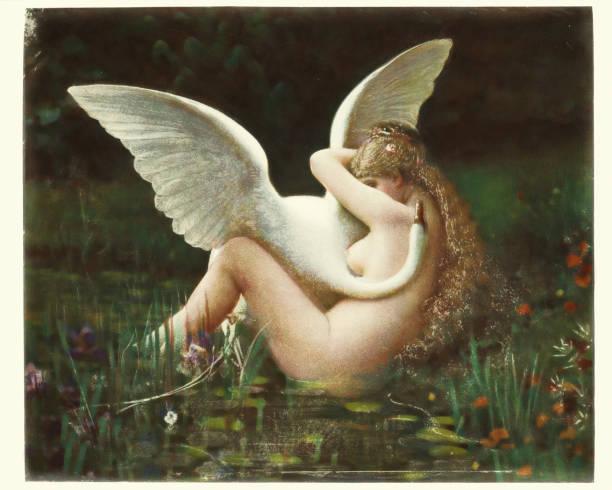 Greek mythology - Leda and the Swan vector art illustration