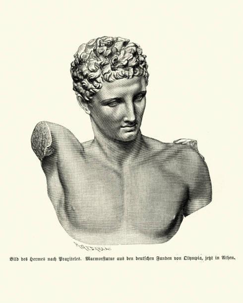 Greek mythology, Statue of God Hermes vector art illustration