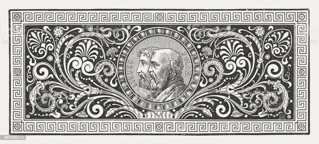 Greek ornament with Lykurgus and Solon, wood engraving, published 1880 vector art illustration