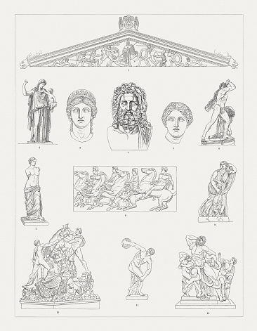 Greek sculpture art, wood engravings, published in 1897
