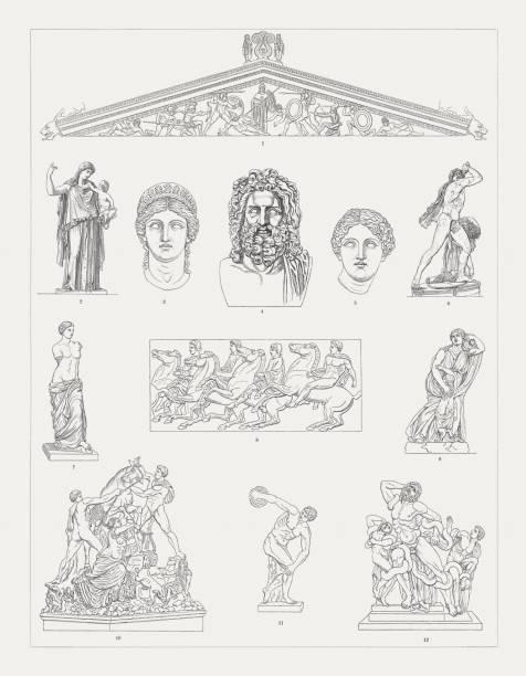 greek sculpture art, wood engravings, published in 1897 - venus stock illustrations