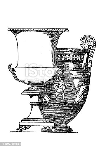 """istock Greek Short and Tall krater or crater (Greek:""""mixing vessel"""") was a large vase 1185213933"""