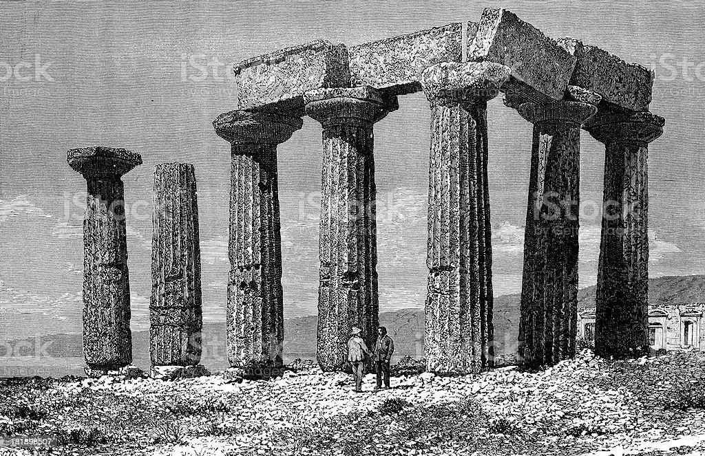 Greek temple ruins royalty-free stock vector art