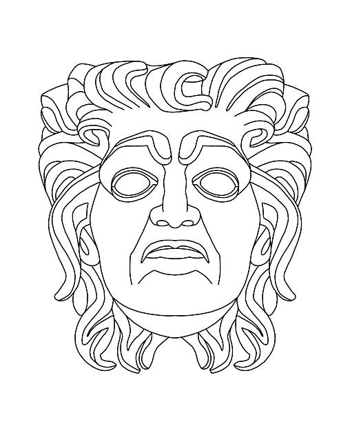 greek theatrical mask of an old man - old man mask stock illustrations, clip art, cartoons, & icons