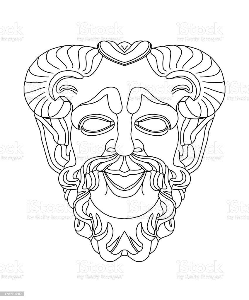 greek theatrical mask of satyr vector art illustration