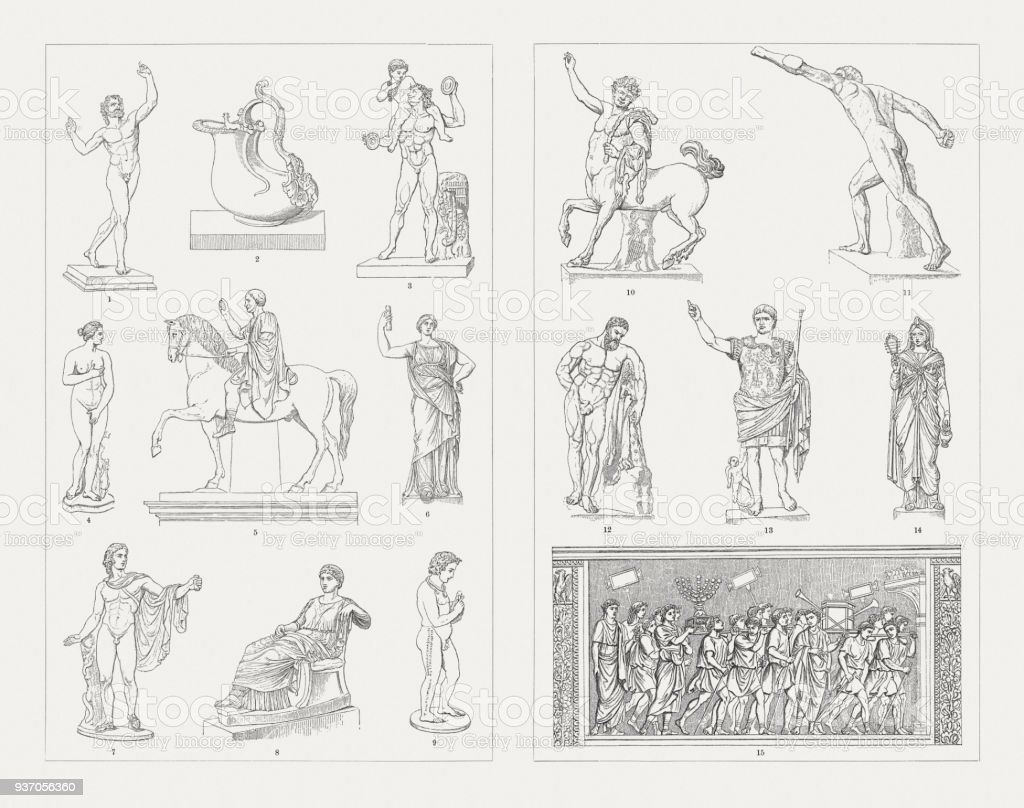 Greek-Roman and Etruscan sculpture art, wood engravings, published 1897 vector art illustration