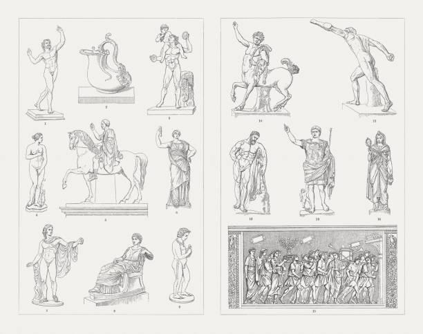Greek-Roman and Etruscan sculpture art, wood engravings, published 1897 vector art illustration