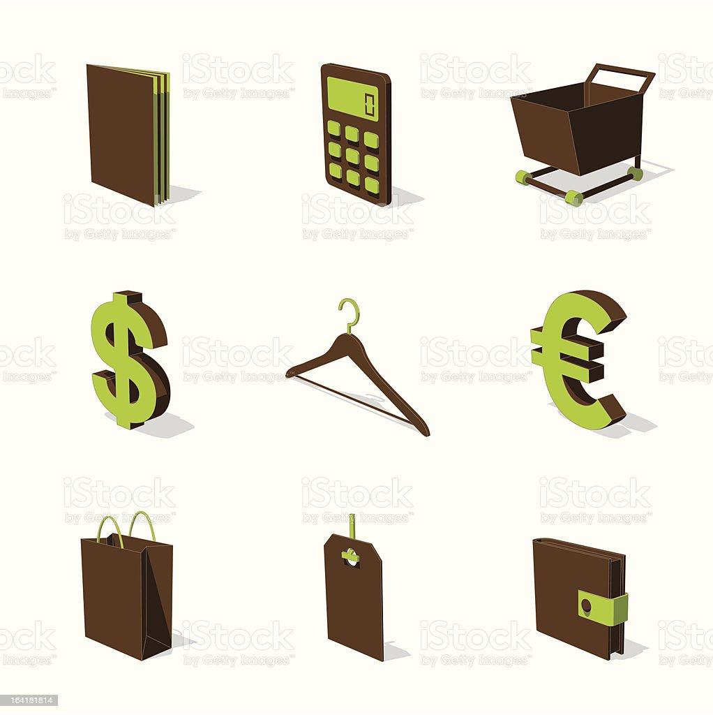 green 3D icon set 06 royalty-free stock vector art
