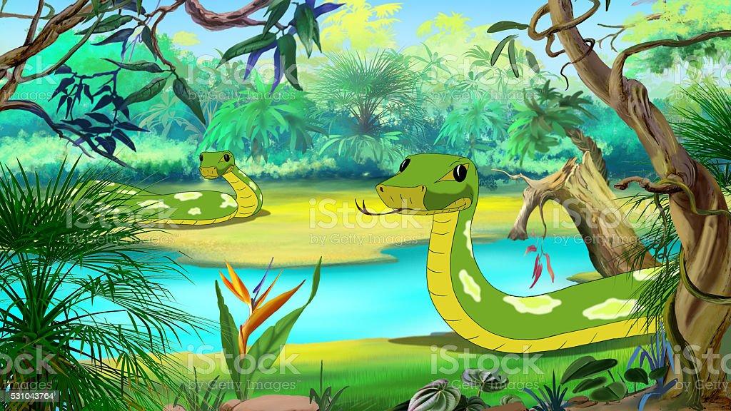 Green Anaconda in the Amazon River vector art illustration