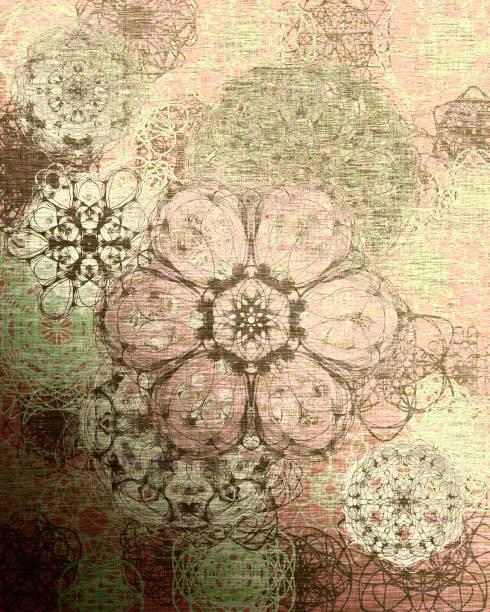 Green and beige winter pattern vector art illustration
