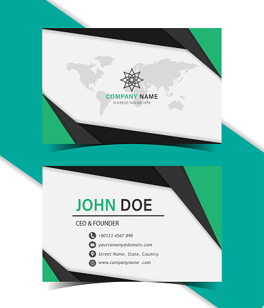 Green and black color geometric shapes style business card template design.