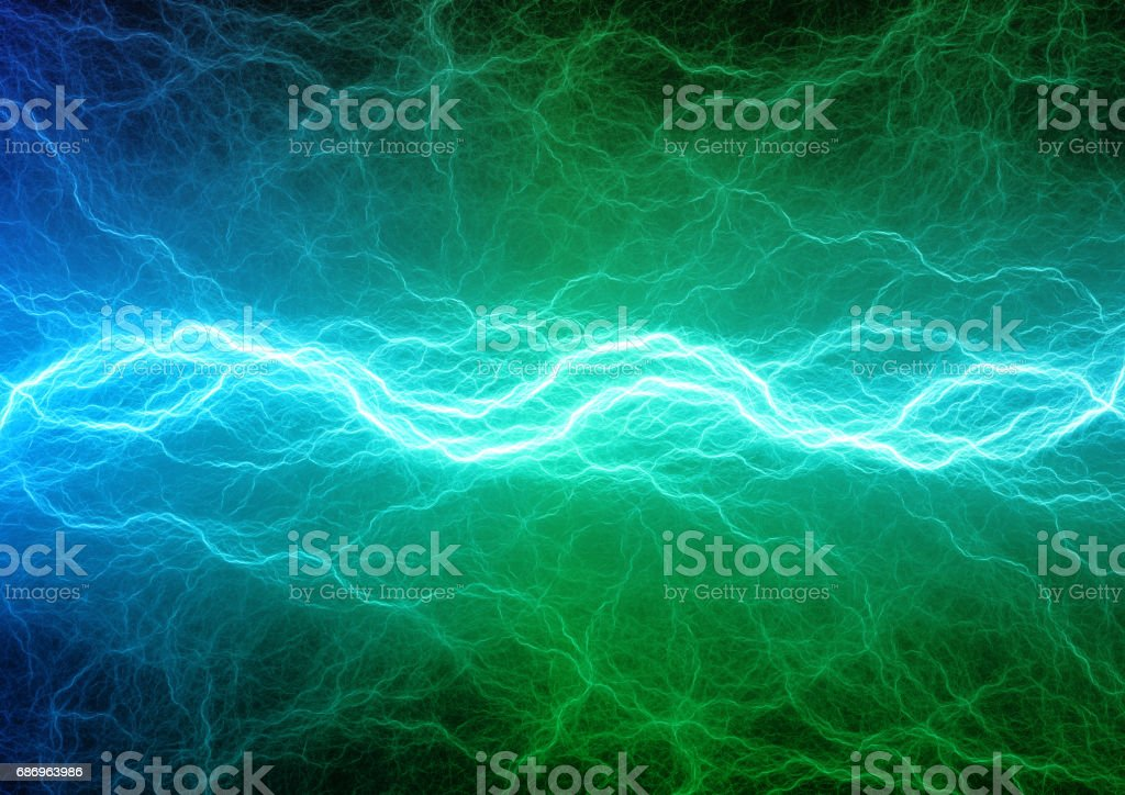 Green And Blue Lightning Abstract Electrical Background