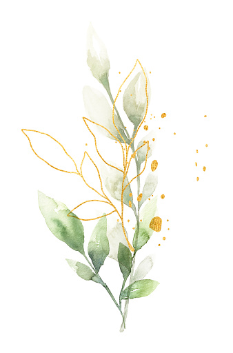 Green and gold leaf watercolor bouquet