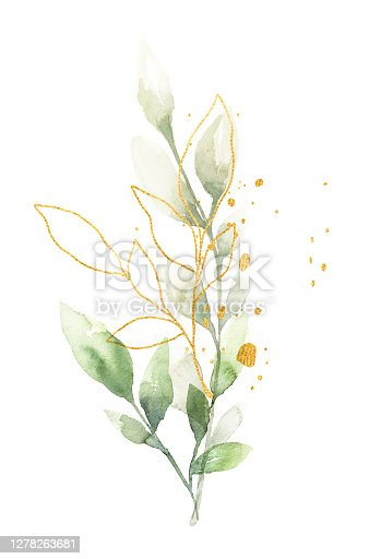 istock Green and gold leaf watercolor bouquet 1278263681