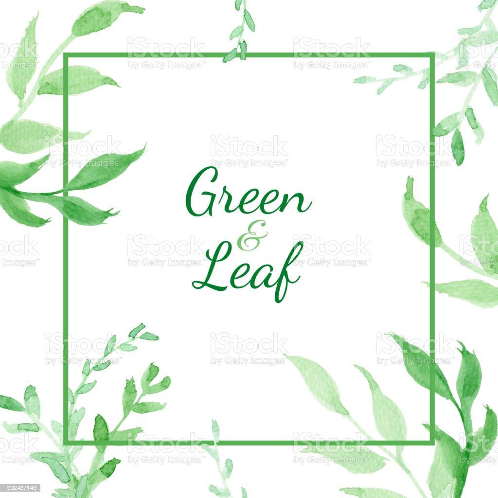Grün Und Blattkarte Aquarell Clipartgrafiken Mit Grünem Blatt Das ...