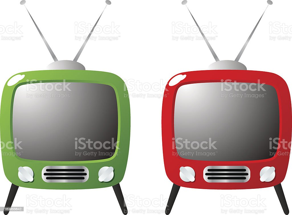 green and red hip retro television sets vector art illustration