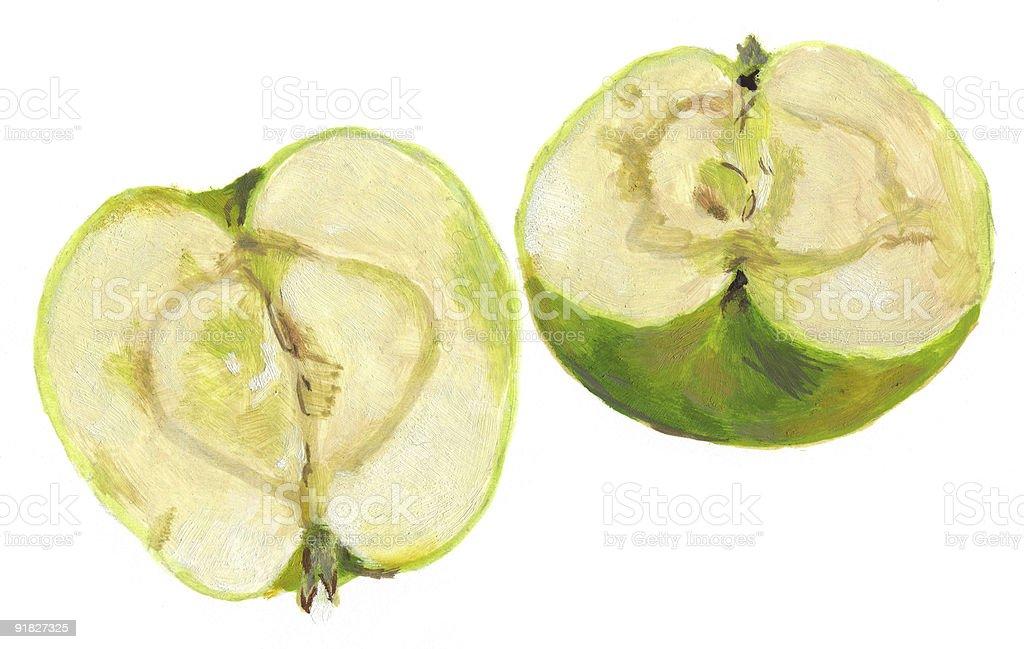 Green Apple Cut In Half Stok Vektör Sanatı Bitkinin Daha Fazla