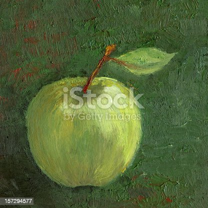 Oil painted green apple on a textured dark green background. I am the author of this painting and the owner of the copyright